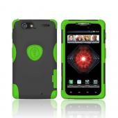 Original Trident Aegis Motorola Droid RAZR MAXX Anti-Skid Hard Cover Over Silicone Case w/ Screen Protector, AG-XT912-TG - Lime Green/ Black