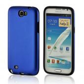 Blue/ Black Aluminum Hard Case on Silicone for Samsung Galaxy Note 2
