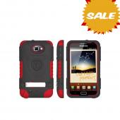 Original Trident Kraken AMS Samsung Galaxy Note Hard Case Over Silicone w/ Screen Protector, Kickstand & Belt-Clip, AMS-GNOTE-RD - Red/ Black