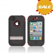 Original Trident Kraken AMS Apple iPhone 4/4S Hard Case Over Silicone w/ Screen Protector, Kickstand, & Belt-Clip, AMS-IPH4S-RD - Red/ Black