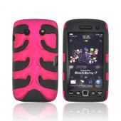 Original Nex Blackberry Torch 9860 9850 Rubberized Hard Fishbone on Silicone Case w/ Screen Protector, BB9570FB05 - Rose Pink/ Black