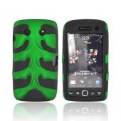Original Nex Blackberry Torch 9860 9850 Rubberized Hard Fishbone on Silicone Case w/ Screen Protector, BB9570FB10 - Green/ Black