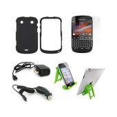 Blackberry 9900, 9930 Essential Bundle Package w/ Black Rubberized Hard Case, Screen Protector, Green Lime 3Feet Stand, Car & Travel Charger
