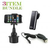 Blackberry Torch Bundle Package - Macally Cup Holder, Car Charger & Blackberry Visor Mount Speakerphone - (Roadster Combo)