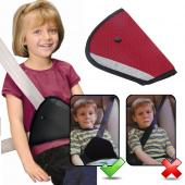 Universal [Red] Triangle Child or Adult Car Seat-Belt Safety Adjuster Harness - Keeps Belt Away From Neck and Face!