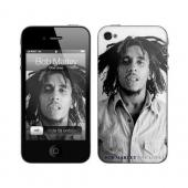 iPhone 4, iPhone 4S Music Skins Bundle Package w/ Bob Marley One Love & iPhone 4, iPhone 4S Clear Hard Case