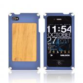 Solid Metal (Aluminum) case for AT&T/Verizon Apple iPhone 4, iPhone 4S w/ Wood Back & Screen Protector by BNA - Exclusively from Accessorygeeks! BNA-4 - Dark Blue
