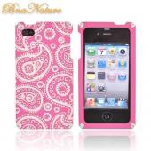 Original BNA Nature AT&T/Verizon Apple iPhone 4, iPhone 4S Aluminum Hard Case & Screen Protector, Exclusively from AccessoryGeeks! BNA-5 - Baby Pink (Paisley) [ENGRAVING]