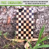Exclusive TPhone Eco-Design Apple Verizon/ AT&T iPhone 4, iPhone 4S Checkered Teak Wood Back Cover Case Bundle w/ Screen Protector, Extendable Stylus & Car Charger