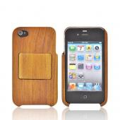 Exclusive Tphone Eco-Design AT&T/ Verizon Apple iPhone 4, iPhone 4S Hand-Finished Wood Hard Case Stand w/ Screen Protector - Brown Teak Wood - XXIP4