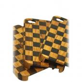 """Exclusive"" TPhone Eco-Design AT&T;/ Verizon Apple iPhone 4, iPhone 4S Hand-Finished Wood Hard Back Cover Case - Checkered Teak Wood"