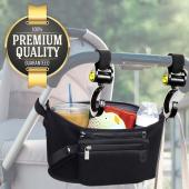 Eutuxia Baby Stroller Bundle, Organizer Bag with Multi Pockets & Detachable Wristlet + 2 Hooks for Strollers. Insulated Cup Holders for Drinks, Storage Space for Items, and Hooks to Hang Your Bags.
