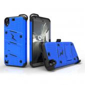 HTC Desire 530 Case - [BOLT] Heavy Duty Cover w/ Kickstand, Holster, Tempered Glass Screen Protector & Lanyard [Blue/ Black]