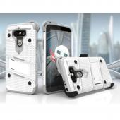 LG G5 Case - [BOLT] Heavy Duty Cover w/ Kickstand, Holster, Tempered Glass Screen Protector & Lanyard [White/ Gray]