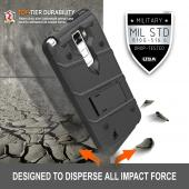 LG K10 Case - [BOLT] Heavy Duty Cover w/ Kickstand, Holster, Tempered Glass Screen Protector & Lanyard [Black]
