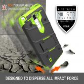 LG K10 Case - [BOLT] Heavy Duty Cover w/ Kickstand, Holster, Tempered Glass Screen Protector & Lanyard [Black/ Neon Green]
