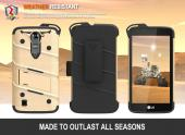 LG K7/ LG Tribute 5 Case - [BOLT] Heavy Duty Cover w/ Kickstand, Holster, Tempered Glass Screen Protector & Lanyard [Gold/ Black]