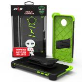 Motorola Moto Z Force Case - [BOLT] Heavy Duty Cover w/ Kickstand, Holster, Tempered Glass Screen Protector & Lanyard [Black/ Neon Green]