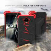 Motorola Moto Z Force Case - [BOLT] Heavy Duty Cover w/ Kickstand, Holster, Tempered Glass Screen Protector & Lanyard [Red/Black]