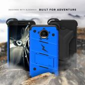 Motorola Moto Z Force Case - [BOLT] Heavy Duty Cover w/ Kickstand, Holster, Tempered Glass Screen Protector & Lanyard [Blue]