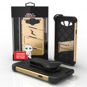 Samsung Galaxy On5 Case - [BOLT] Heavy Duty Cover w/ Kickstand, Holster, Tempered Glass Screen Protector & Lanyard [Gold/ Black]