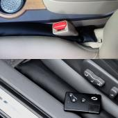 Faux Leather Car Seat Gap Pad with Padding Protective Case and Slot Plug Car Gap Filler [Black]