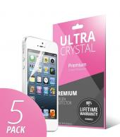 5 Piece Bundle of High Definition Ultra Premium Clear Screen Protectors for Apple iPhone 5/5S/5C