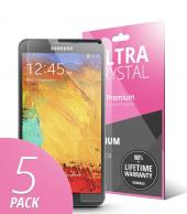 5 Piece Bundle of High Definition Ultra Premium Clear Screen Protectors for Samsung Galaxy Note 3