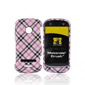 Original Body Glove Motorola Crush W835 Posh Snap-On Hard Case, CRC91390 - Pink, Gray, White Plaid Design