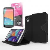 Cellto Faux Leather Diary Flip Stand Case w/ ID Slots, Bill Fold & Magnetic Closure for Google Nexus 5 Case Black
