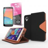 Brown/ Black Faux Leather Diary Flip Stand Case w/ ID Slots, Bill Fold & Magnetic Closure for Google Nexus 5