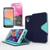 Cellto Faux Leather Diary Flip Stand Case w/ ID Slots, Bill Fold & Magnetic Closure for Google Nexus 5 Case Navy Blue/ Mint
