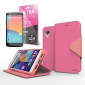 Hot Pink/ Baby Pink Faux Leather Diary Flip Stand Case w/ ID Slots, Bill Fold & Magnetic Closure for Google Nexus 5