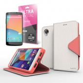 Cellto Faux Leather Diary Flip Stand Case w/ ID Slots, Bill Fold & Magnetic Closure for Google Nexus 5 Case White/ Hot Pink
