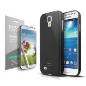 Anti-Slip TPU Crystal Silicone Skin Case for Galaxy S4 Mini Black