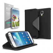 Black Faux Leather Diary Flip Stand Case w/ ID Slots, Bill Fold & Magnetic Closure + Free Screen Protector for Samsung Galaxy S4 Mini
