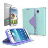 Cellto Faux Leather Diary Flip Stand Case w/ ID Slots, Bill Fold & Magnetic Closure for Samsung Galaxy S4 Mini Case Mint/ Purple