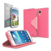 Cellto Faux Leather Diary Flip Stand Case w/ ID Slots, Bill Fold & Magnetic Closure for Google Nexus 5 Case Hot Pink/ Pink