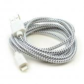 White/ Black Braided Fabric 6 FT. USB to Lightning Charge & Sync Data Cable for Apple iPhone 5/5S/ iPod Touch 5/ iPad Mini