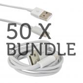 50 Pack Bundle White Charge n' Sync Lightning Cable for Apple iPhone 5/5S/ iPod Touch 5/ iPad 3/4 & iPad Mini