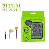 Motorola Droid X Bundle Package - Bamboo Ecobud Headphones & Solar Power Charger - (Eco-friendly Combo)