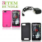 Motorola Droid X Bundle Package - Pink Hard Case, Silicone Case & Travel Charger - (Essential Combo)