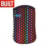 "Original BUILT Universal (Up to 4.5"" like iPhone 4, iPhone 4S) Neoprene Sleeve Pocket for Smartphones, E-PPK20-MDT - Multi Colored Dots on Navy Blue"