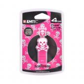 Original EMTEC 4GB Flash Drive, EKMMD4GSWPIN - White Skull on Pink