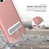 Samsung Galaxy J3/ Galaxy Amp Prime Case, ELITE Cover Slim & Protective Case w/ Built-in [MAGNETIC Kickstand] Shockproof Protection Lightweight [Metallic Hybrid] w/ Tempered Glass [Rose Gold]