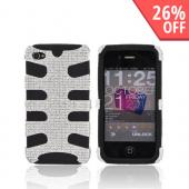 AT&T/ Verizon iPhone 4, iPhone 4S Bling Hard Fishbone on Silicone Case - Silver/ Black