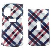 UTStarcom Casio Exilim C721 Hard Case - Checkered Plaid Pattern of Navy Blue, Brown, Silver