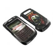 Blackberry Curve 8900 Hard Case - Flaming Music Skull on Black