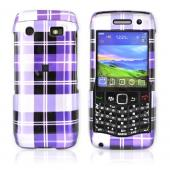 BlackBerry Pearl 9100 Hard Case - Plaid Pattern of Purple, Light Purple, and Black