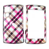 Garmin Nuvifone G60 Hard Case - Checkered Plaid Hot Pink Brown